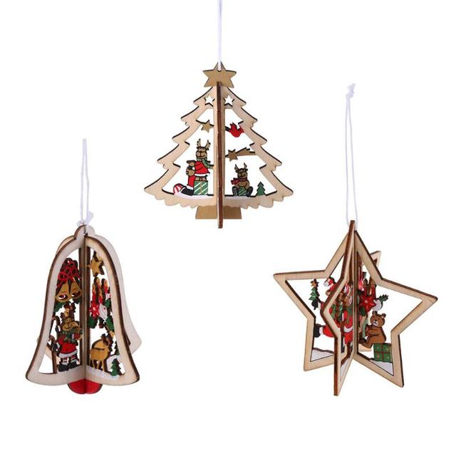Wooden Christmas Ornaments Part - 43: 1pc 3D Tree Star Bell Ornaments Wooden Christmas Decoration Kids Gifts Toy  Xmas Tree Hanging Drops