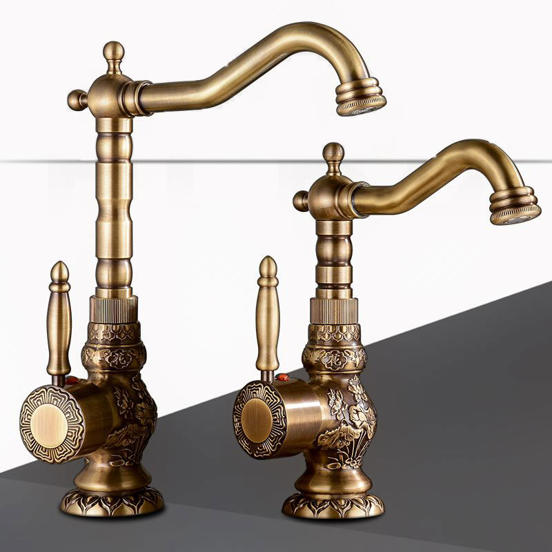 Solid Brass Short Tall antique brass Polish  Bathroom Faucet Sink Faucet Deck Mounted Mixer Tap Cold and Hot Water Europe Style-in Basin Faucets from Home Improvement    2