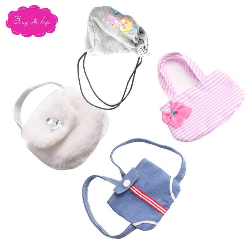 18 Inch Meisjes Pop Rugzak Handtas Doek Amerikaanse Pasgeboren Geneigd Schoudertas Baby Speelgoed Fit 43 Cm Babypoppen c221