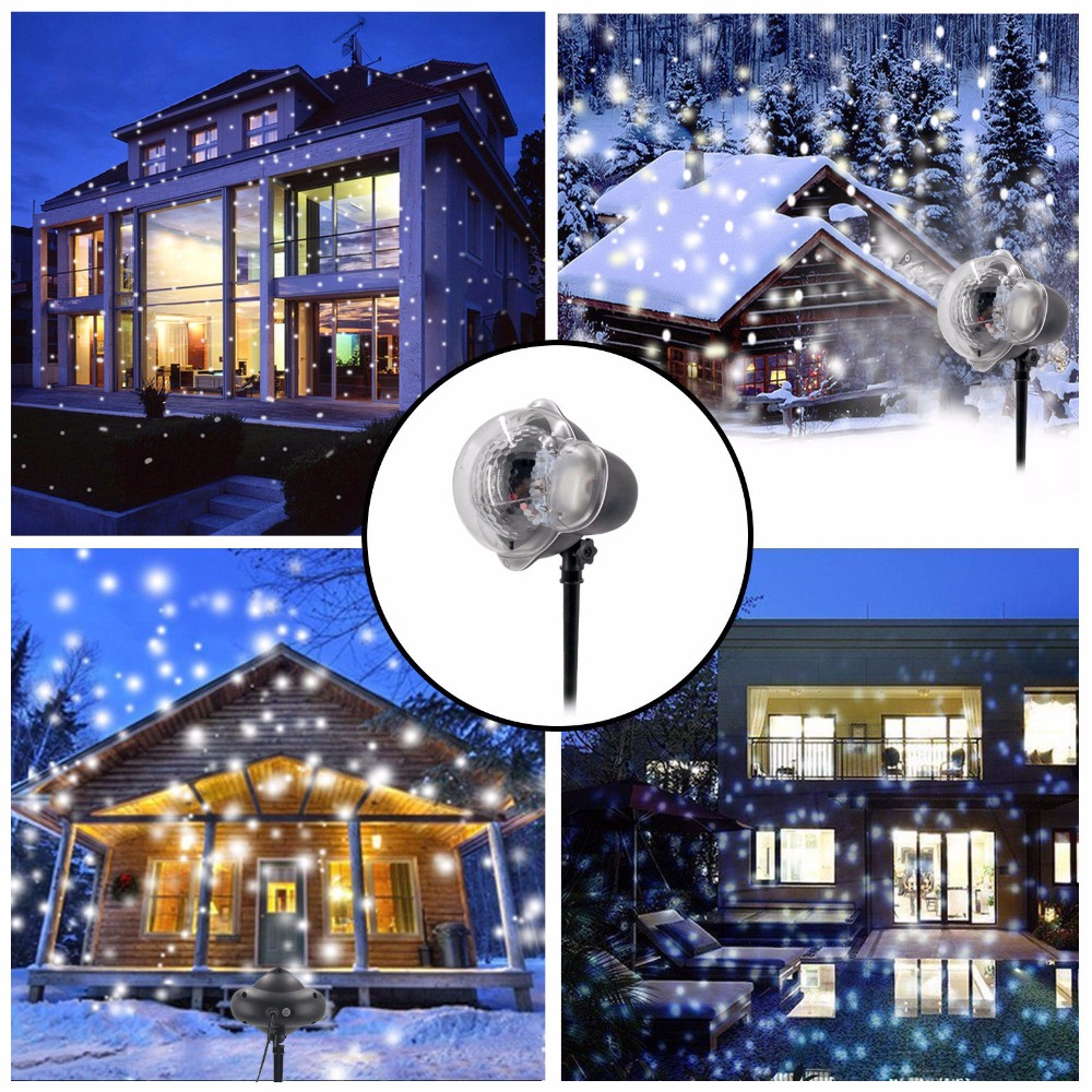Waterproof Moving Snow Laser Projector Lamps Snowflake LED Stage Light For Christmas New year Party Light Garden Lamp UK Plug