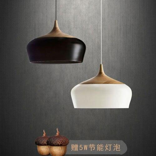 Modern Lamps Pendant Lights Wood and Aluminum Lamp Black/ White Restaurant Bar Coffee Dining Room LED Hanging Light Fixture