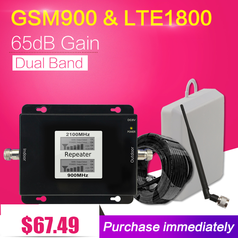 Repeater GSM 900 LTE 1800 Mobile Phone Cellular Signal Booster 65dB 2G 4G GSM DCS Cellphone Repeater Repetidor Antena Celular