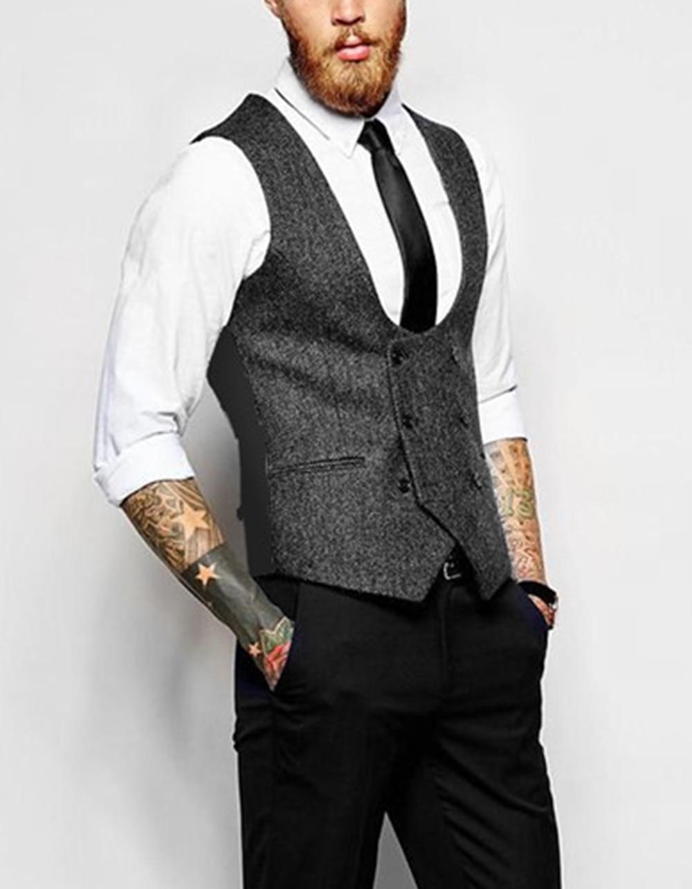 Mens Slim Business Brown Waistcoat Champagne Wool Herringbone Tweed Suit Vests Custom Made Sleeveless Suit Jacket For Wedding
