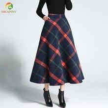 6295501839 GECADYNY 2018 Autumn Winter Women Woolen Skirt High Waist Female Long Plaid  A-line