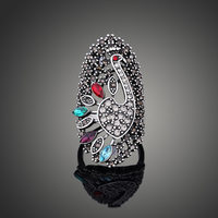 2017Free Shipping Top-Quality Multicolor Crystal Rhinestone Peacock Animal Rings Anillos Vintage fashion Rings For Women Jewelry