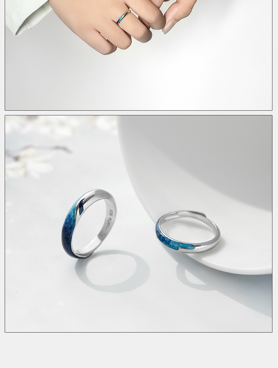 Silver s925 Circular Shining River Blue Emerald Ring for Women