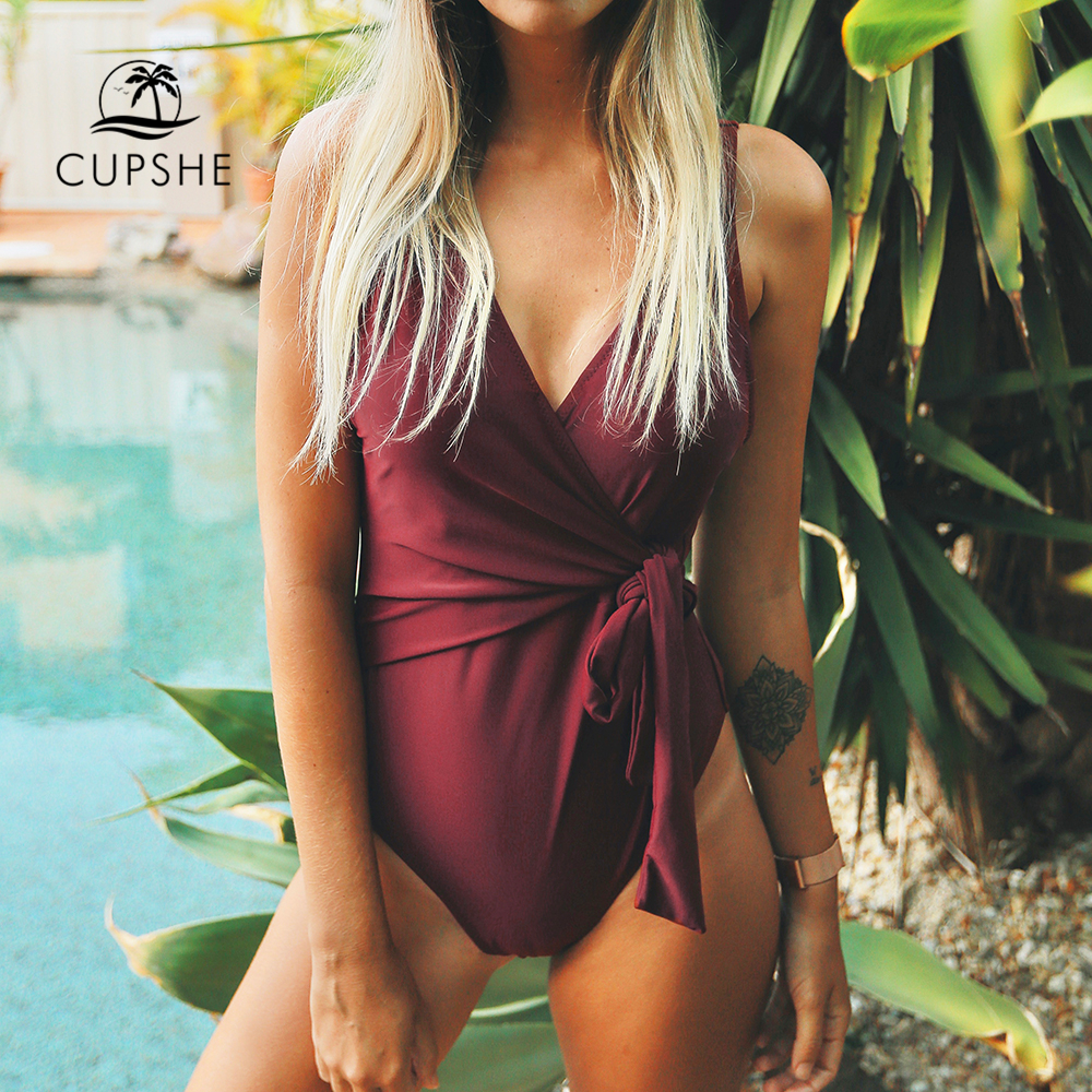 CUPSHE Dance Solid Low Back One-piece Swimsuit Women Burgundy Deep V neck Bikini 2018 Girl Beach Padded Bathing Suit Swimwear printed bohemian low back one piece swimwear