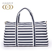 Coofit Casual Stripe Luggage Handbag For Men And Women Large Capacity Duffel Bag Unisex Weekend Travel