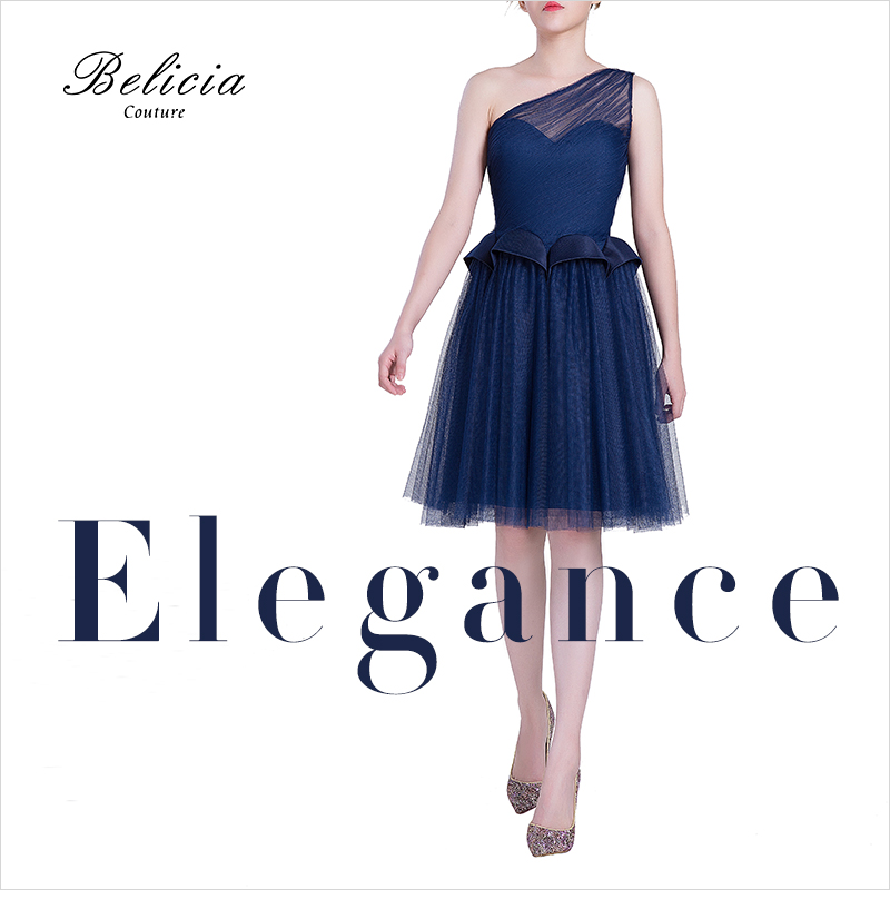5b2c9ff1927 Belicia Couture Navy Blue Cocktail Dresses Design One Shoulder Sexy Short  Homecoming Dress Elegant Fashion Party Prom GownsUSD 159.00 piece
