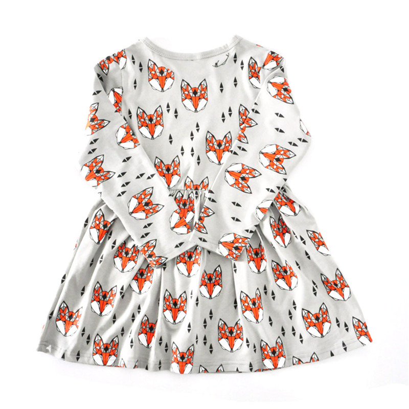 fashion baby girls dress fox head printing long-sleeved dresses for girls cotton sweet kids spring summer clothing size 12M-5T spring fall girls dress printing long sleeved dress with pockets cotton kids casual clothes brand children clothing 1 6 yrs