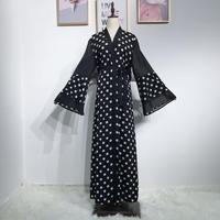 Polka Dot Open Abaya Turkey Kimono Muslim Dress Caftan Elbise Qatar Ramadan Islamic Clothing Robe Dubai Kaftan Moroccan a1208
