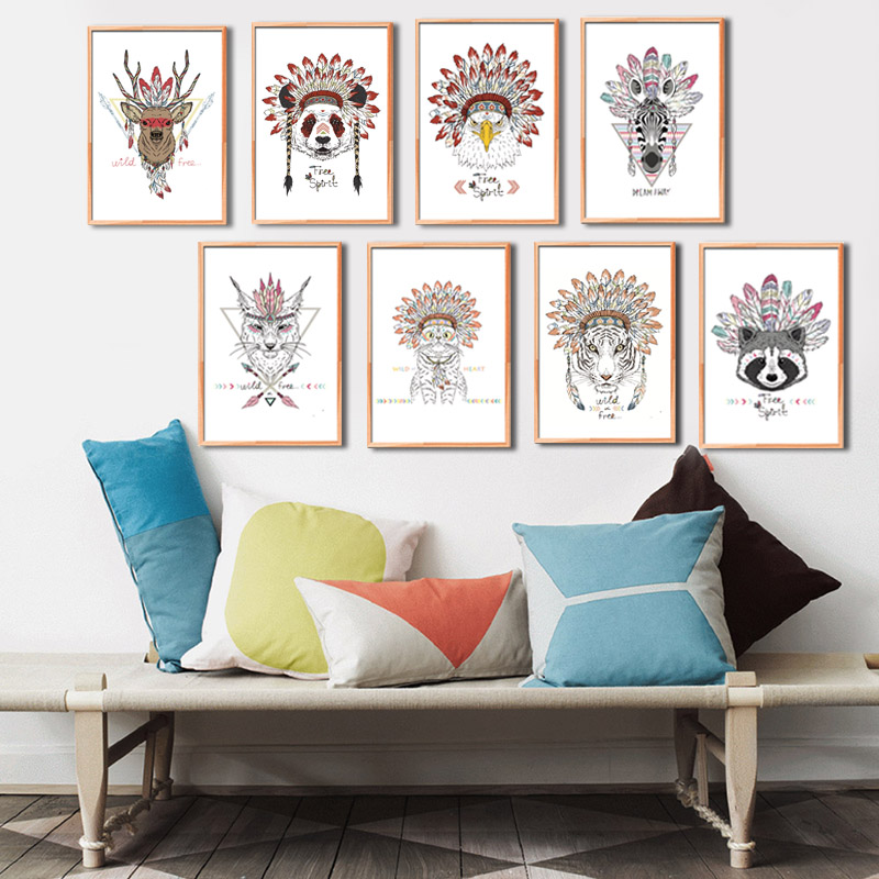India Animals Rabbit Elephant Giraffe Sheep Leathers Head Canvas Painting A4 Art Print Poster Living Room No Framed Home Decor