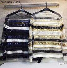 2017 spring fashion  gauze stripe lace embroidery beading blouse women sexy shirt