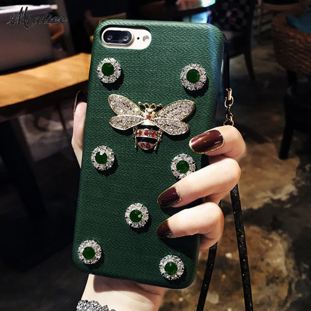 Luxury 3D Metal Bee Diamond Crystal Phone Case for iPhone X 6 6s 7 8 Plus Bling Fashion DIY PU Silicone Phone Cover with Strap