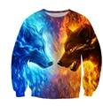 free shipping 2016 new fashion Sweatshirt 3D Cartoon printing Fire Wolves Novelty Long sleeves harajuku casual pullover