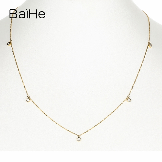 BAIHE Solid 18K Yellow Gold Certified H/SI 0.15ct Round cut Natural Diamonds Women Fine Diamond Jewelry Trendy Wedding Necklaces 3