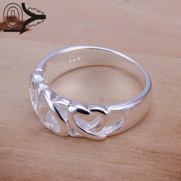 Christmas Gift Wholesale Silver-plated Ring,Silver Fashion Jewelry,Three Kelp Women&Men Gift Silver Jewelry Finger Rings
