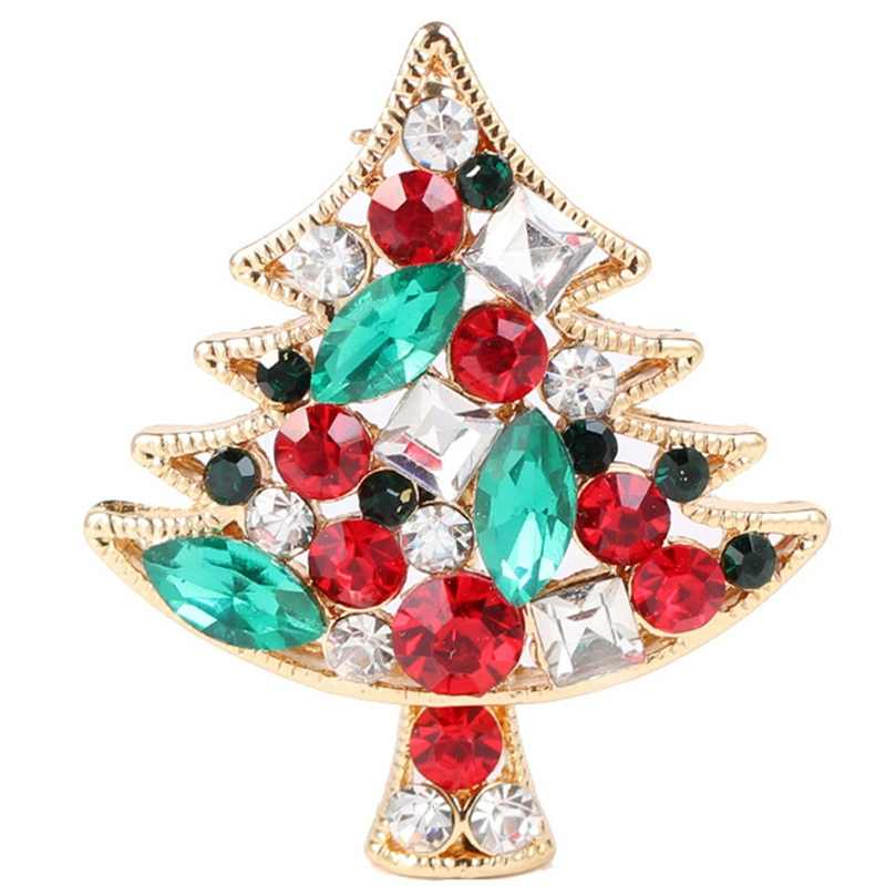 New Casual Crystal Christmas Tree Brooch Pins Wedding Collar Clip Scarf Buckle Accessory Jewelry Brooches Best Gift For Women
