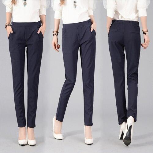 j2fe220 #8058 2017 весна женщины моды эластичный высокой талией случайных брюки карманы классические шаровары полная длина сплошной цвет брюки