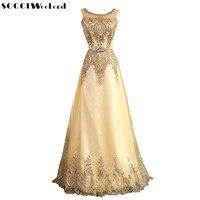 SOCCI 2016 זהב טול תחרה מוסלמית פורמליות שמלת הערב ארוכה Robe de Soiree לנשף אמא של הכלה שמלות מגיעות עם חגורת