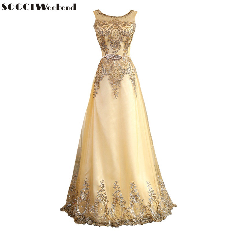 SOCCI Tulle Lace Muslim Gold   Evening     Dress   Long Formal Gown Prom Robe de Soiree Mother of the Bride   Dresses   come with Belt New