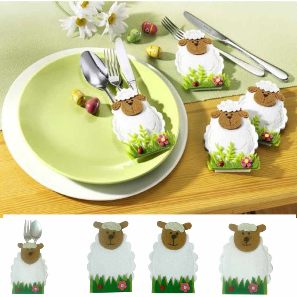 4pc Easter sheep Decoration tableware Case Holders Pockets Dinner Decor Decorations Party DIY Ornament