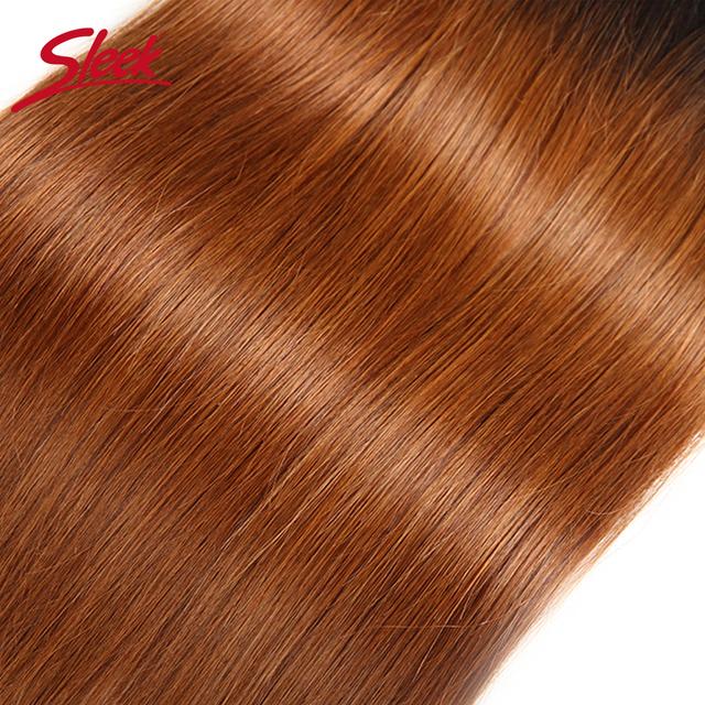 Sleek Ombre Brazilian Hair Straight 1B/30 Human Hair Weave Bundles