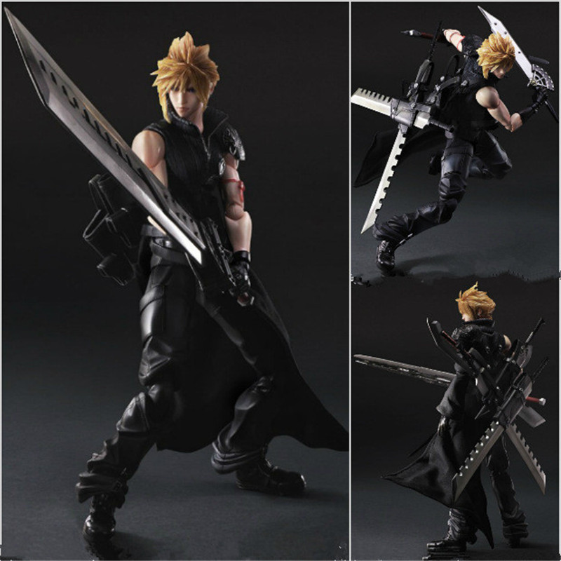 Final Fantasy Play Arts Kai Cloud Strife Figure Play Art Final Fantasy Cloud 25cm PVC Action Figure Doll Toys Kids Gift L1089 anime folding wallet final fantasy vii cloud strife sephiroth high quality short pu purse free shipping