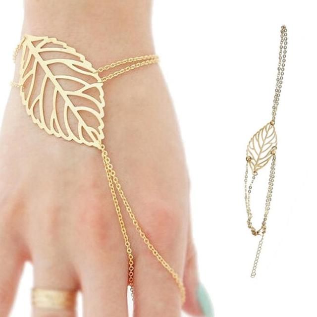 GEMIXI  Fashion Women Hollow leaves Finger  Bangle Slave Chain Gold Bracelet  4.13