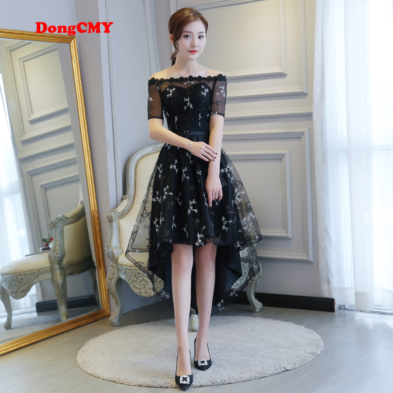 DongCMY 2019 new zipper black color party short bride Tea-Length women High/low sequin   Prom     dresses