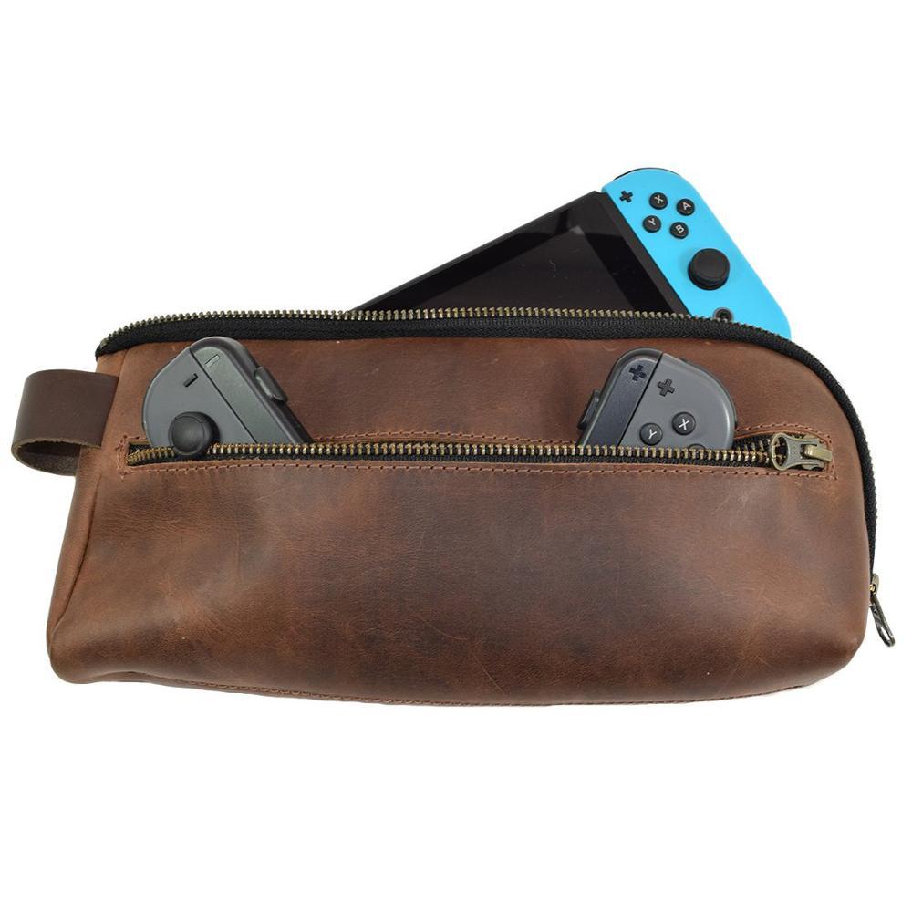 Interrupteur cuir housse de transport pochette Simple souple sac de rangement fait main léger à transporter avec une pochette principale pour la console