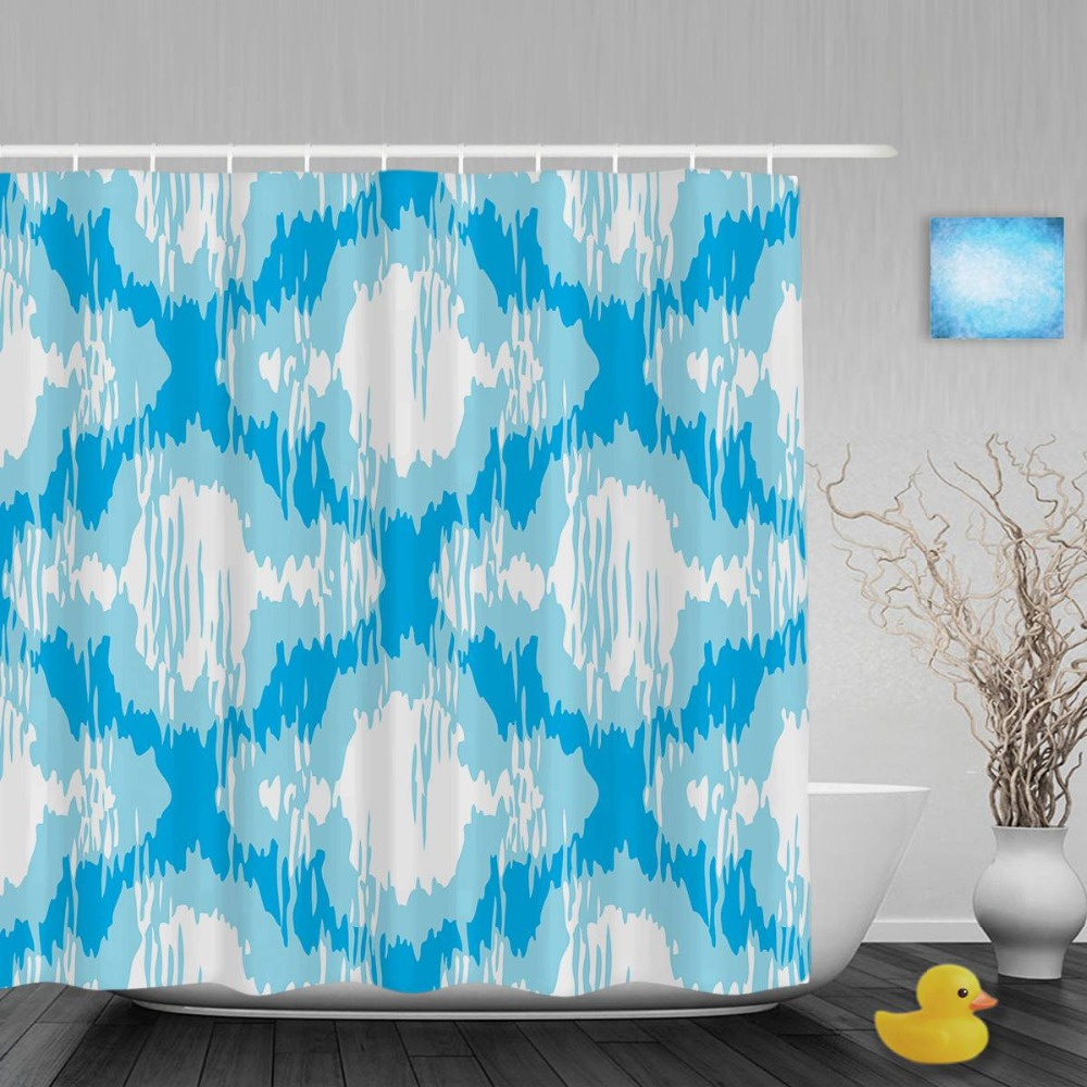 Blue moroccan curtains - Personalized Distressed Moroccan Bathroom Shower Curtains Abstract Pattern Decor Shower Curtain Waterproof Polyester Fabric Hook