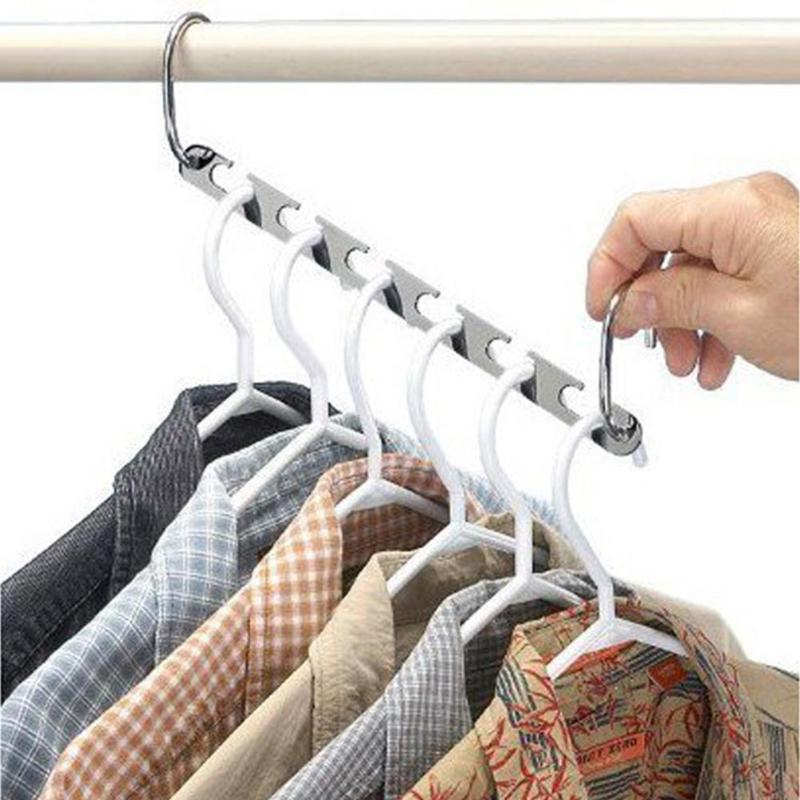2/4/6pcs Magic Clothes Hanger Hanging Chain Metal Cloth Closet Hanger Shirts Tidy Save Space Organizer Hangers for clothes