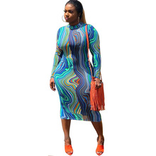 Sexy Long Sleeve Print Dress Women O-neck Knee-length Bodycon Midi Dress Elegant Stretch Slim Casual Day Dress Female Vestidos elegant women dress slash neck sexy women dresses slim bodycon knitted cotton sweater dress women knee length vestidos pl2