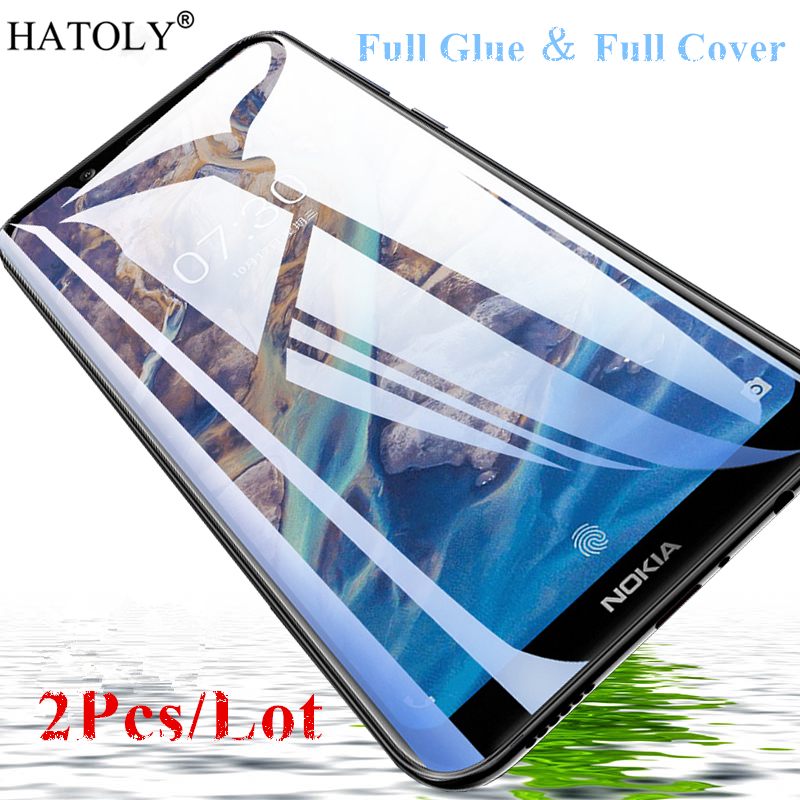 2Pcs For Nokia 8.1 Glass Tempered Glass For Nokia 8.1 X7 HD Film 9H Full Glue Full Cover Screen Protector For Nokia 8.1