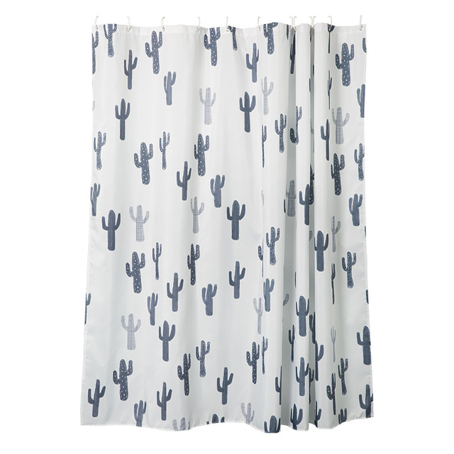 Succulent Cactus Shower Curtain Navy Blue Decor Bath Collection Washable And Durable Waterproof Polyester