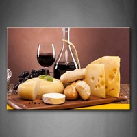 Framed Wall Art Pictures Cheese Bread Wine Canvas Print Food Modern Posters With Wooden Frame For Home Living Room Decor