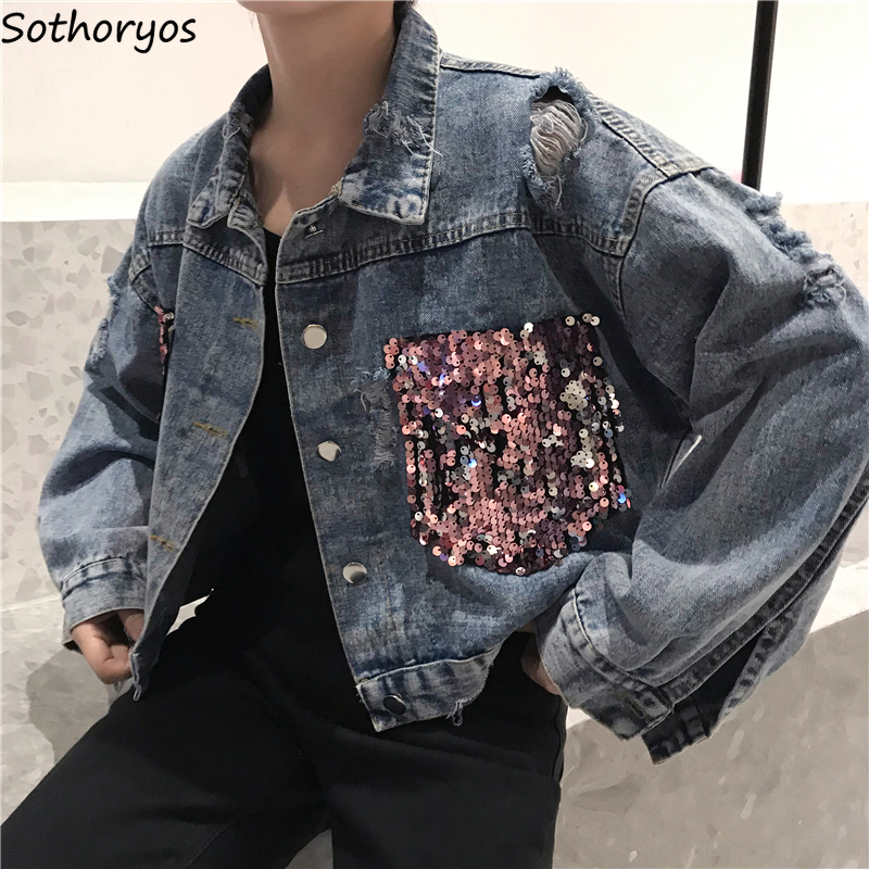 Basic     Jackets   Women Sequins Shiny Bling Short Night Club Disco Chic Womens   Jacket   Harajuku Leisure Denim Vintage Loose Femme