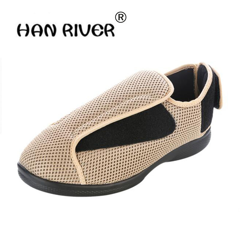 High grade comfortable breathe Diabetic shoe broad foot swollen middle aged men s shoes thumb inside