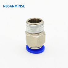 NBSANMINSE Air Pipe Fitting M5 1/8 1/4 3/8 1/2 Male Thread Push In Joint Air Gas Connector Quick Fittings Pneumatic Push blcak high quality pc 10mm 1 8 1 4 3 8 1 2 thread male straight pneumatic tube push in quick connect fittings pipe