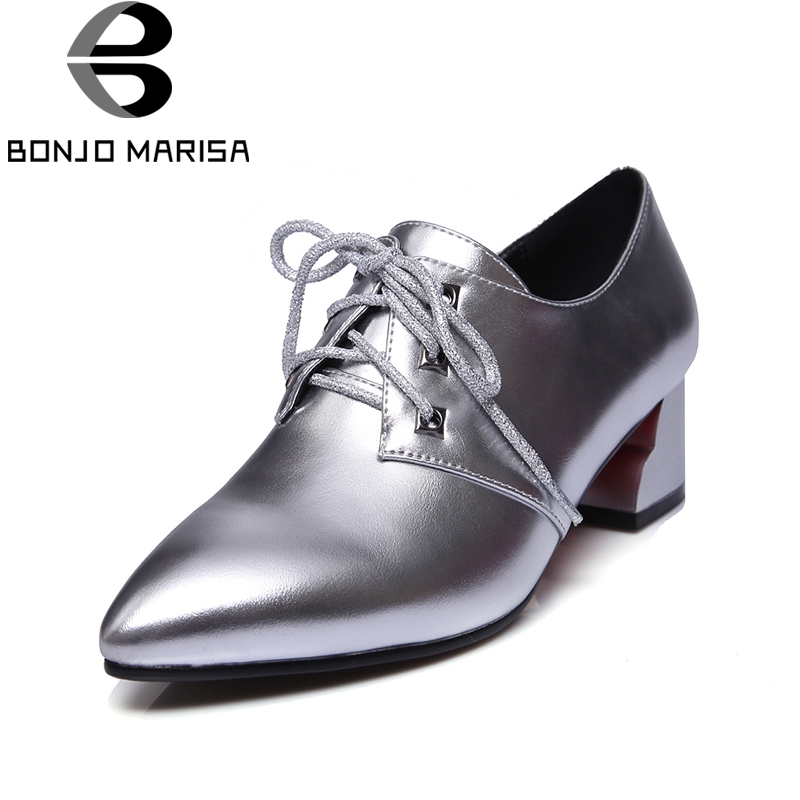 BONJOMARISA 2018 Lace Up Women Shoes Woman Pointed Toe Square Mid Heels Pumps Woman Black Red