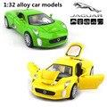 1:32 сплава модели автомобилей, высокая моделирования Jaguar C-X75, металл diecasts, игрушечных автомобилей, вытяните назад и мигать и музыкальные, бесплатная доставка