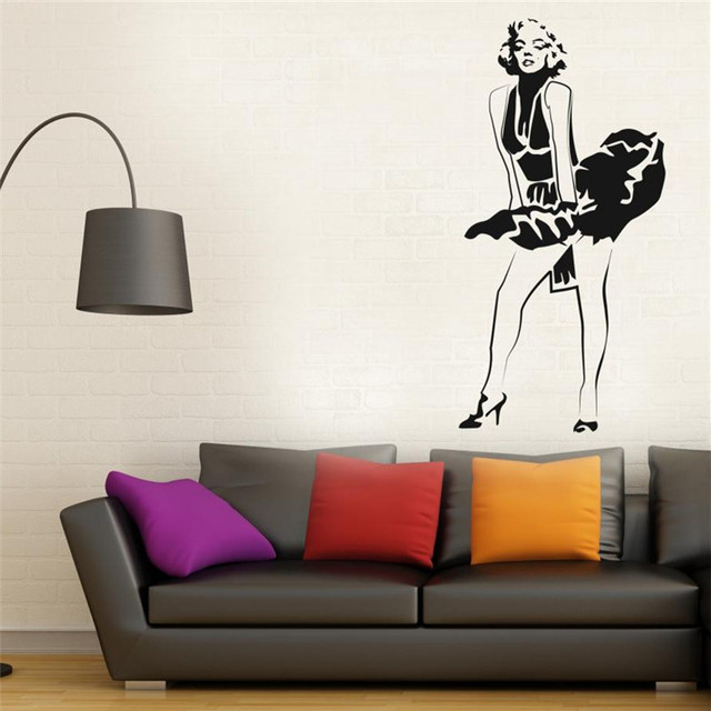 Free Shipping Marilyn Monroe Wall Decal Sticker Dress Modern Decor  Removable Stickers Home Decor Stickers