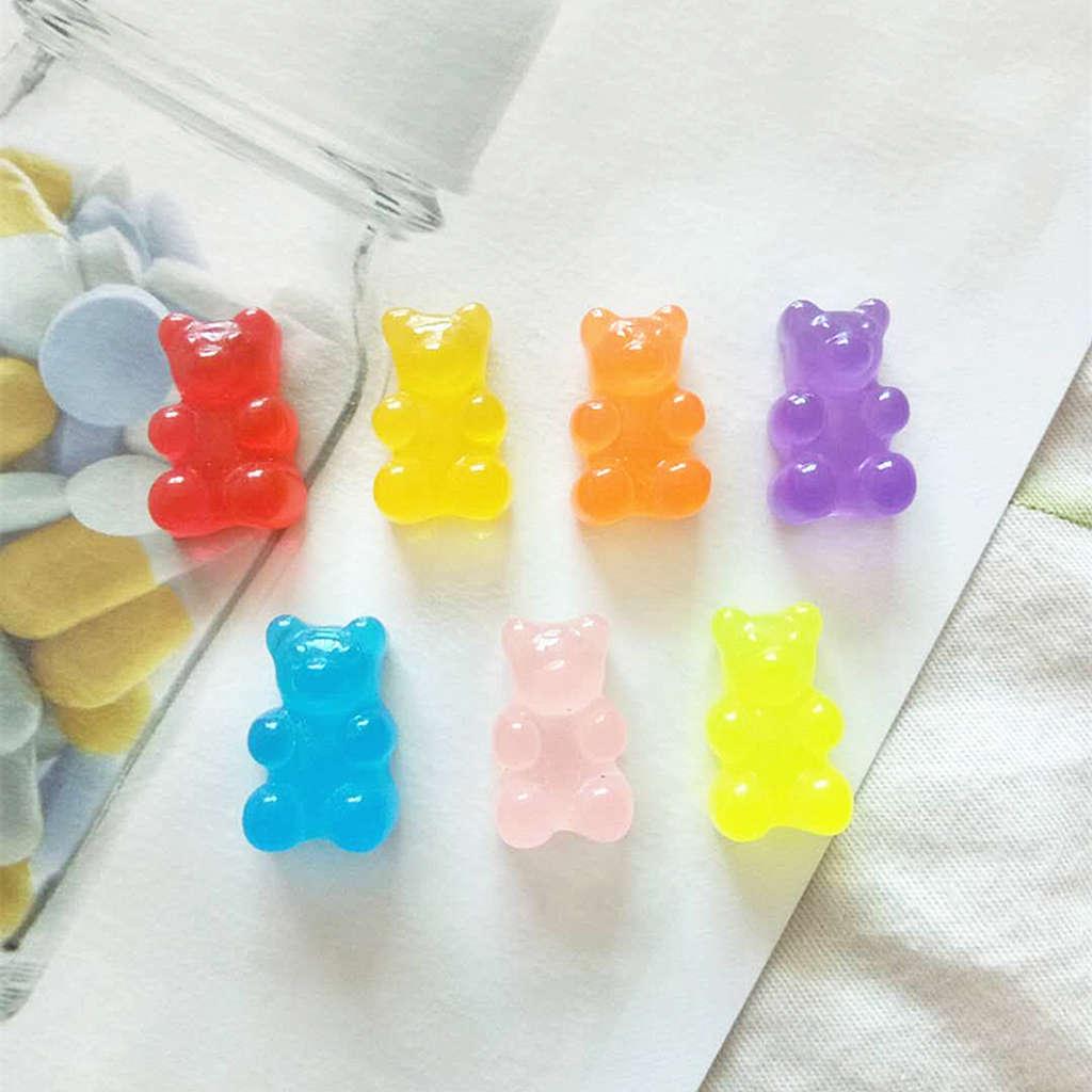 100Pcs Resin Candy Flatback Cabochon Miniature Qq Gummy Candy Cute Bear Design Resin Sugar Dollhouse DIY