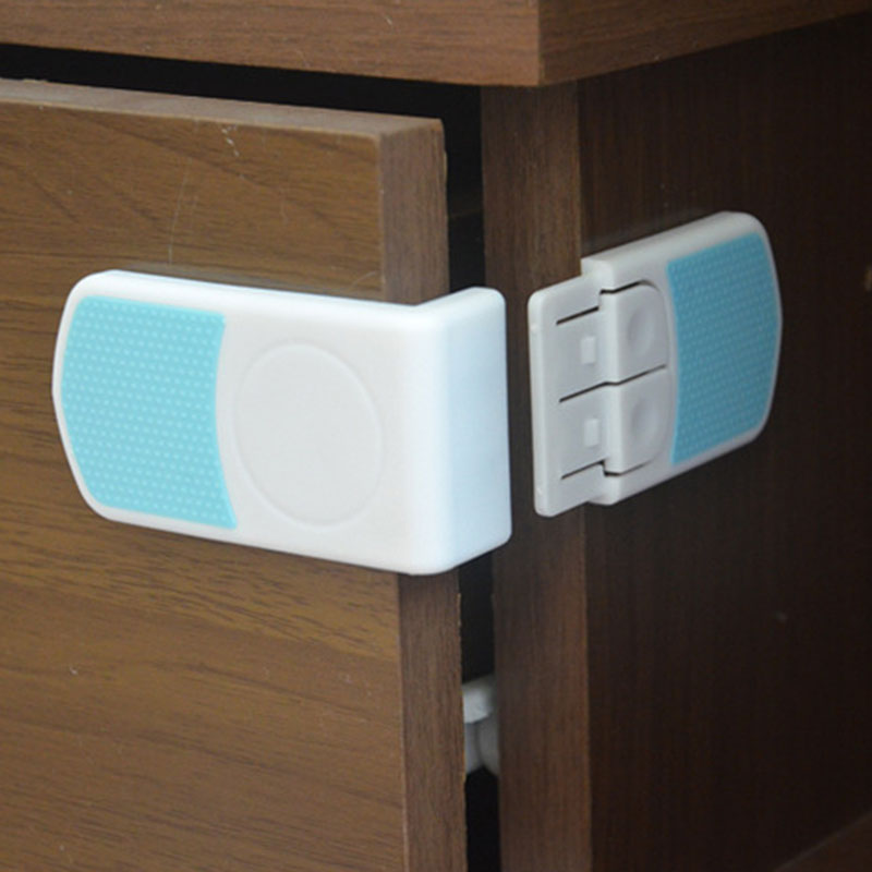 10Pcs Baby Drawer Cupboard Refrigerator Plastic Locking Protection Children Kids Straps Safety Right Angle Corner Cabinet Locks