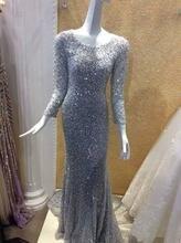 2016 Luxury Long Sleeves Mermaid Sequins font b Evening b font font b Dress b font