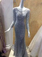 2016 Luxury Long Sleeves Mermaid Pailletten Abendkleid 2016 Real Sample Kristall Perlen Grau Backless Strass Abendkleid RE01