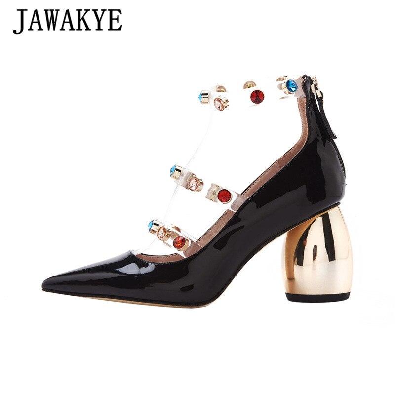 Pompes en cristal coloré femmes clair PVC t-strap en cuir verni femmes chaussures bout pointu en métal talon Chunky talons hauts chaussures de fête