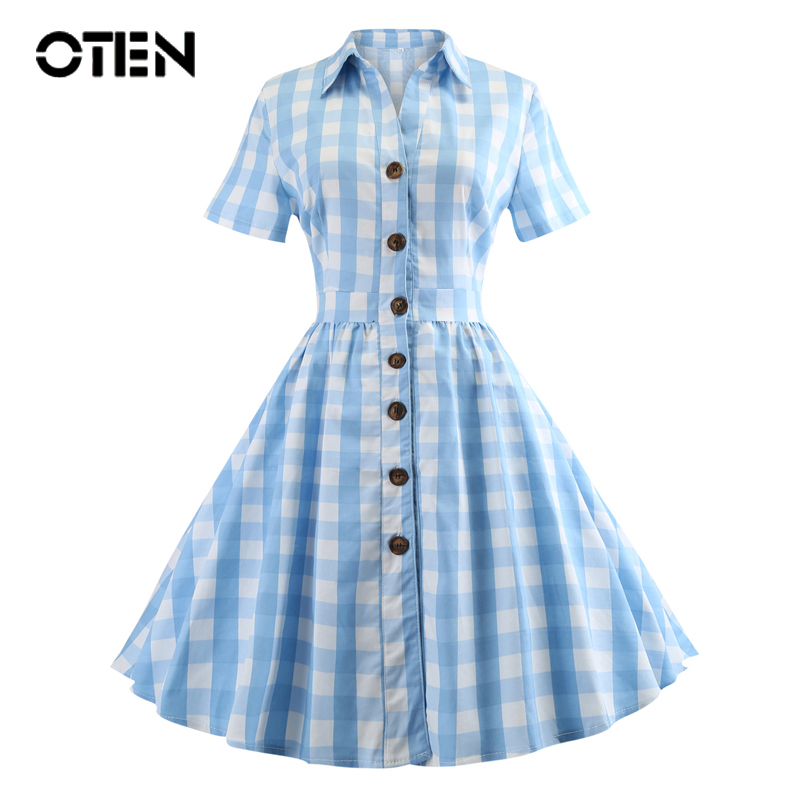 OTEN Women dress 5xl plus size Summer Short Sleeve Blue White Plaid Printed Button Rockabilly Vintage Tartan dress for ladies