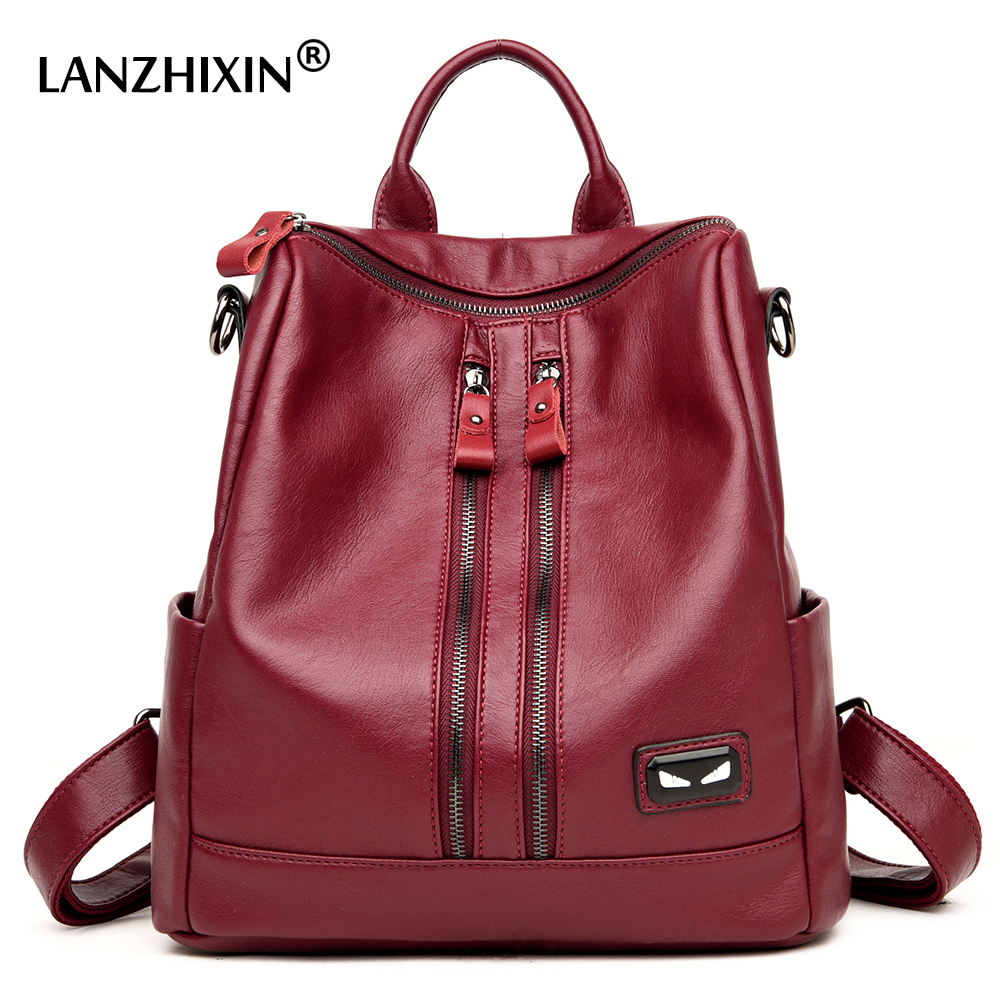 Lanzhixin 2017 Famous Brand Soft Washed Leather Backpacks School Casual Daily Backpack Women Backpacks For Teenager Girls 6020